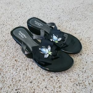 Vera Wang Diamond Beetle Wedge Thong Sandals
